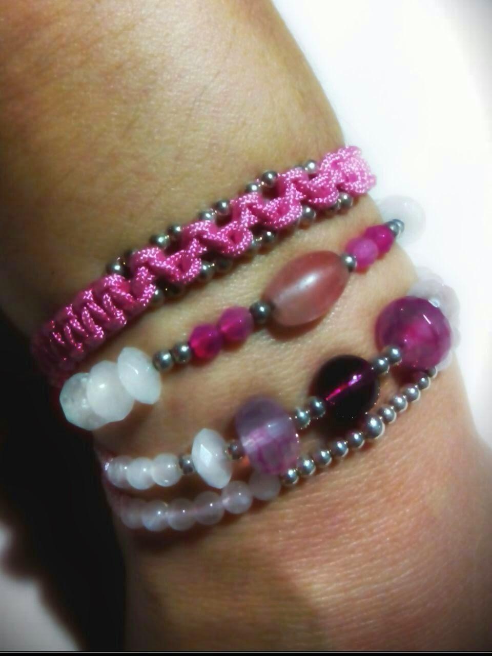 Pulseras unete al rosa plata semipreciosas artesanal personalizada cuarzo agata lucha contra el cancer de mama