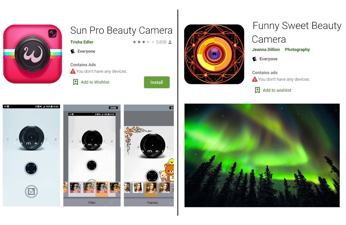 Adware found in selfie camera apps on Google Play Store