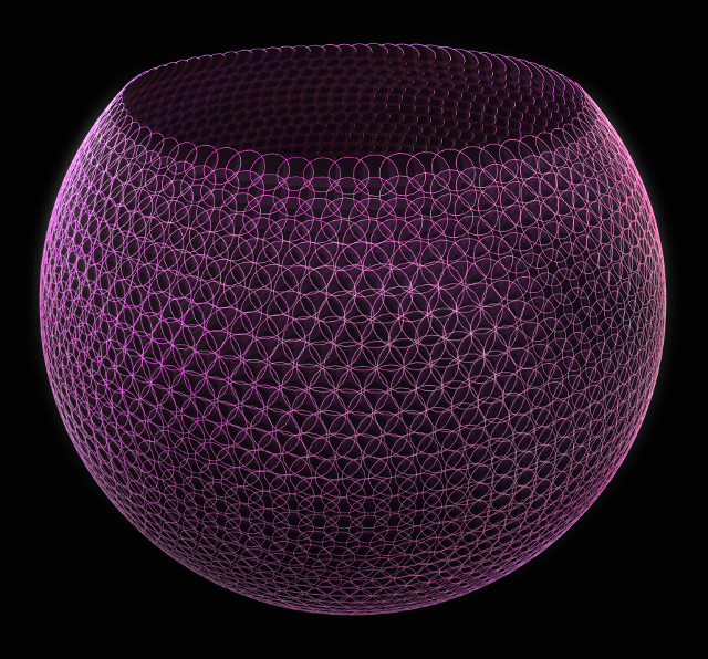 I arranged 2D ellipses on the 3D cup. It seemed a piece of pottery in the oven to me.