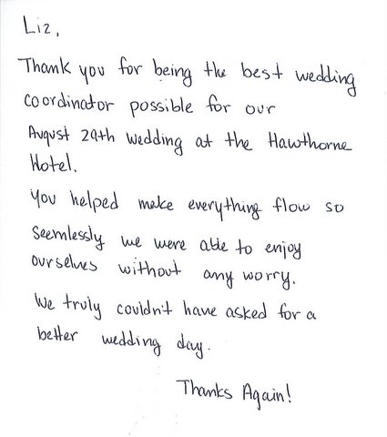 Weddings at the Hawthorne Hotel: Interesting Thank You ...
