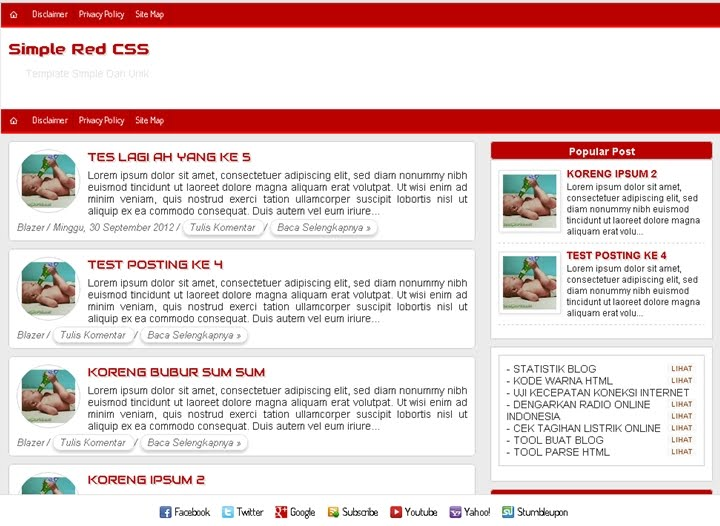 Simple Red CSS Bloger Template | EDHO-XP