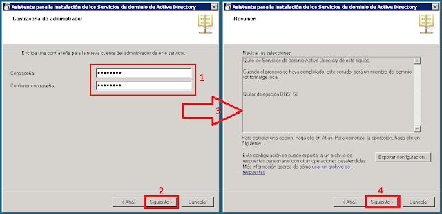 Introduciremos la contraseña que se aplicara al administrador local del servidor después de la despromoción.