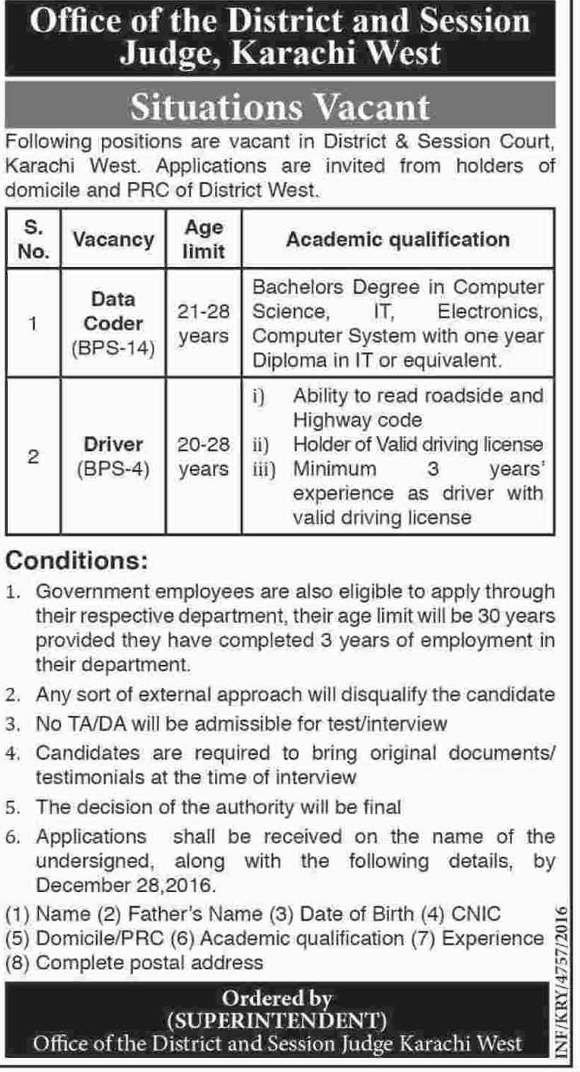 Jobs in District Office and Session Judge Karachi