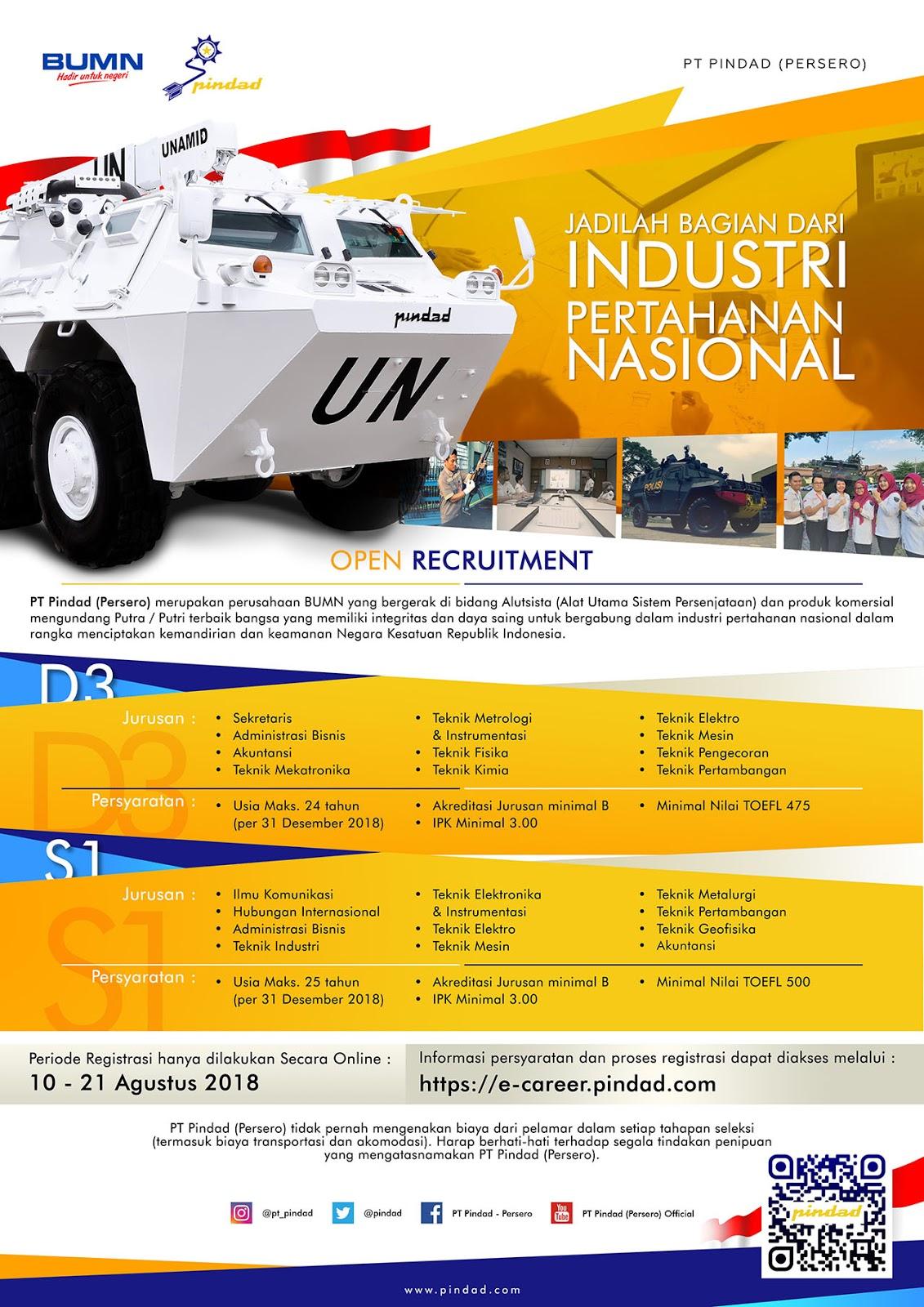 Lowongan Kerja BUMN PT Pindad (Persero) Tingkat D3/S1