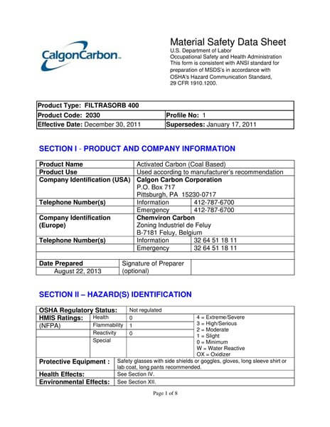 Material Safety Data Sheet (MSDS) Karbon Aktif Calgon FiltraSorb 400