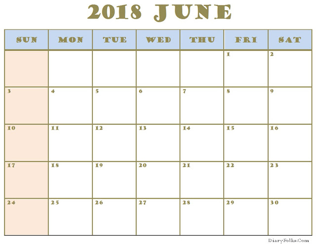 June 2018 Holiday Calendar Canada