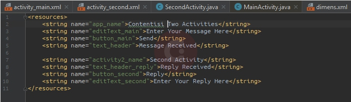 Script Strings.xml Two Activities
