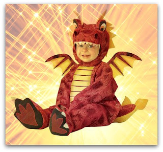 Red dragon costume for infants and babies