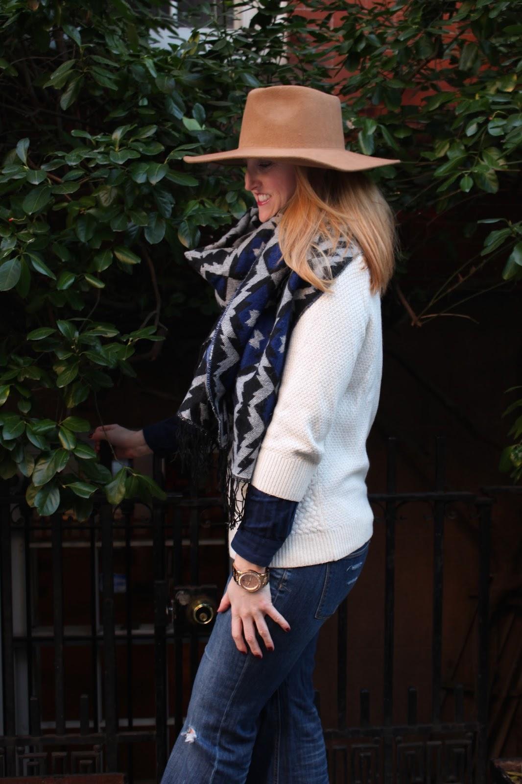 9ced9af62a9a6 Hat  Reiss London   Jacket  Zara   Sweater   Shirt  Loft   Jeans   Victoria s Secret   Necklace  J.Crew   Scarf  H M