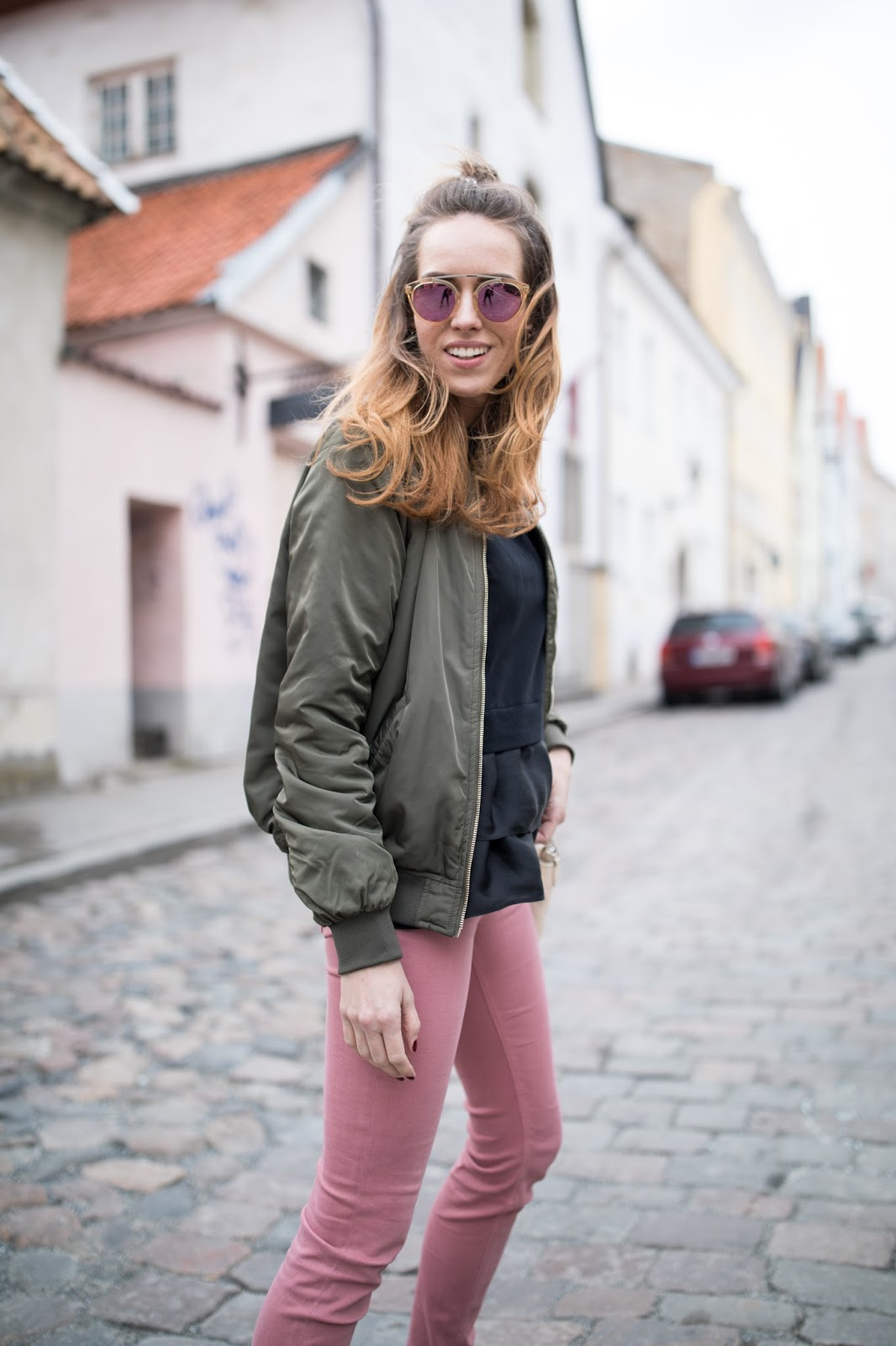 army green bomber jacket outfit