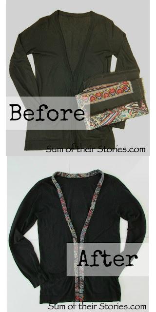 cardigan refashion fabric edge