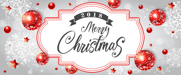 Merry Christmas lettering with red decor Free Vector