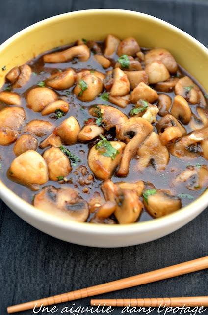 Poêlée de champignons piquants  cuisine asiatique