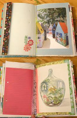 Flere opslag fra bogen syet med forskelligt papir