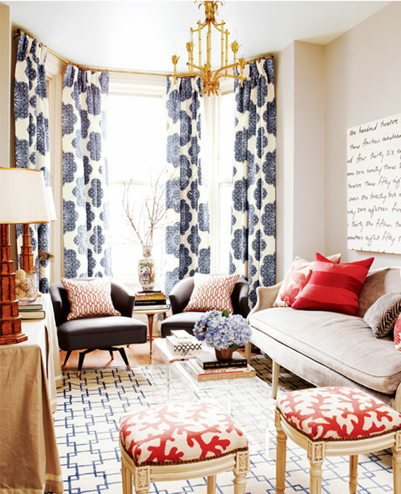 living room w/ blue + red accents