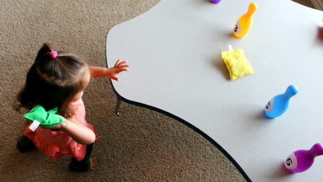 preschool math activity, bean bag toss