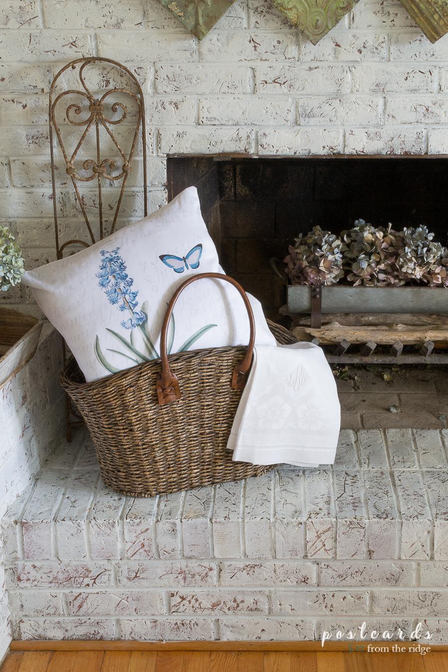 basket with blue hyacinth botanical pillow