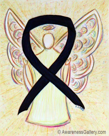 Awareness Ribbon Black Guardian Angel Image Picture
