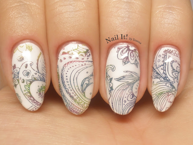 Paisley Nail Art (JQ-L14 stamping plate, Bundle Monster Mochi Stamper, Mundo de Uñas Winter Collection)