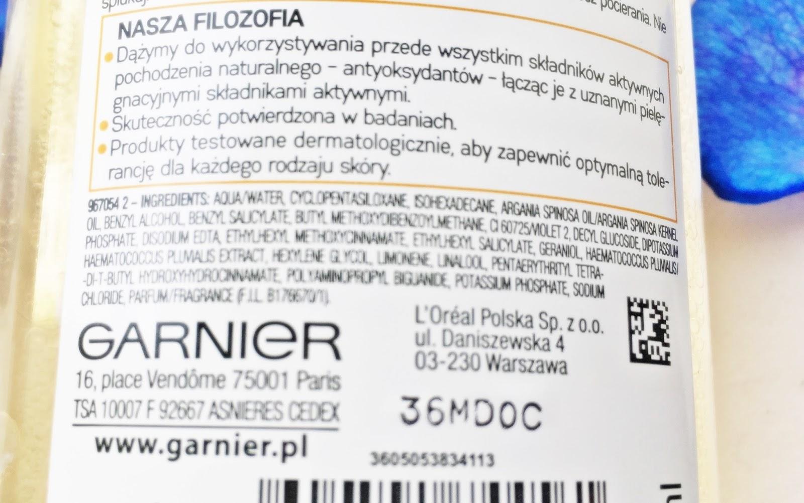 Płyn micelarny z olejkiem Garnier, olejek arganowy skład beautypediapatt