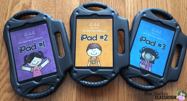 Photo of classroom iPads with custom wallpapers.