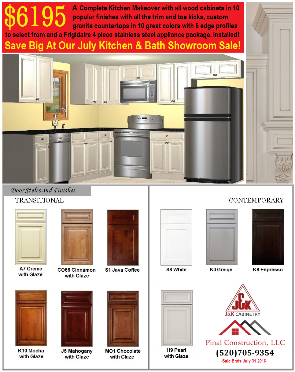 Get A Complete Kitchen Makeover With All Wood Cabinets In 10 Popular  Finishes With Trim And Toe Kicks, Custom Granite Countertops In 10 Colors And  A 4 Piece ...
