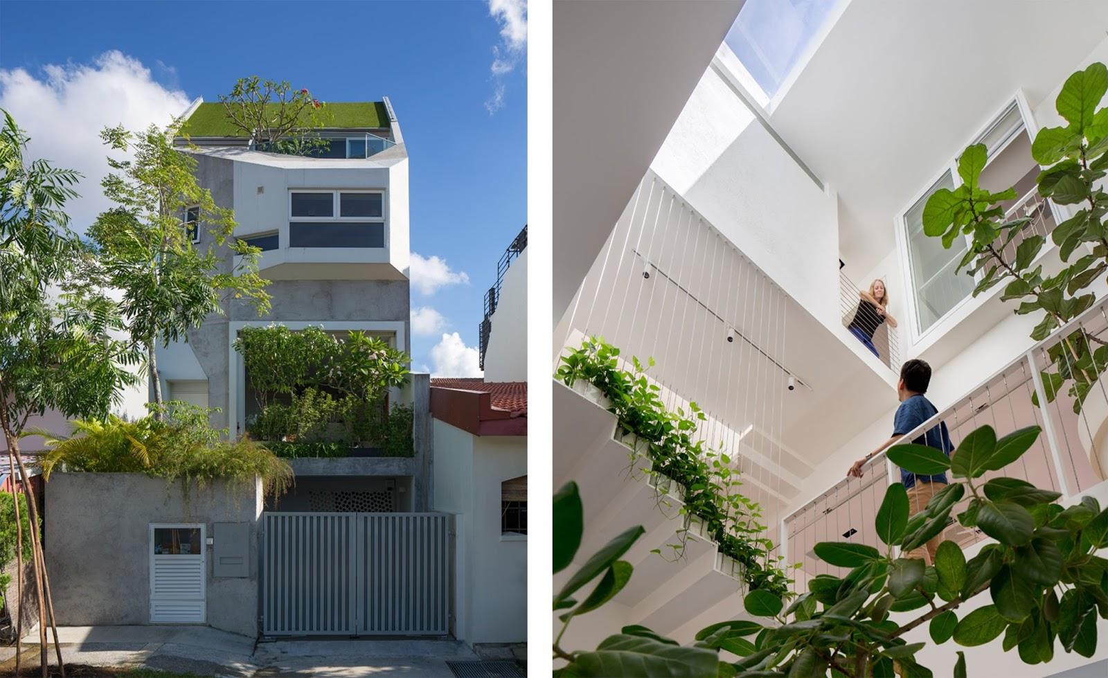 residenza su pi livelli con alberi e piante a singapore