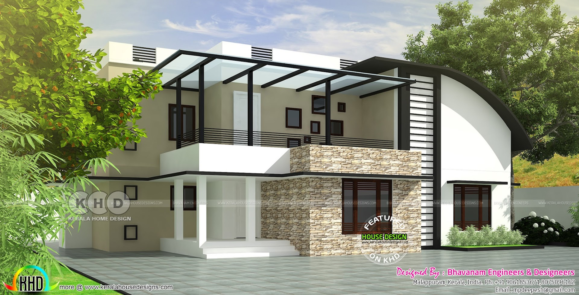 Curved Roof Mix Modern House Plan Kerala Home Design And
