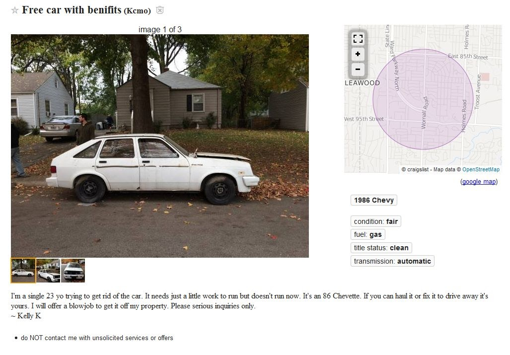 Tony's Kansas City: Kansas City Blow Job Craigslist Car Deal