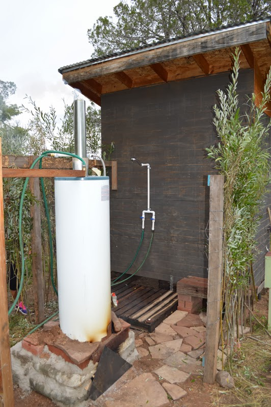 Our life in the wild how to make a wood fired outdoor shower - How to make an outdoor shower ...