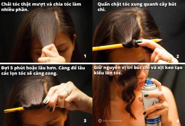 Cách làm tóc xoăn tự nhiên bằng bút chì