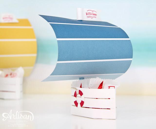 Segelboot-Stampin Up-Holzkiste