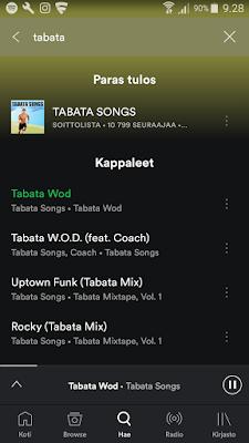 Spotify, Tabata, treenimusiikki