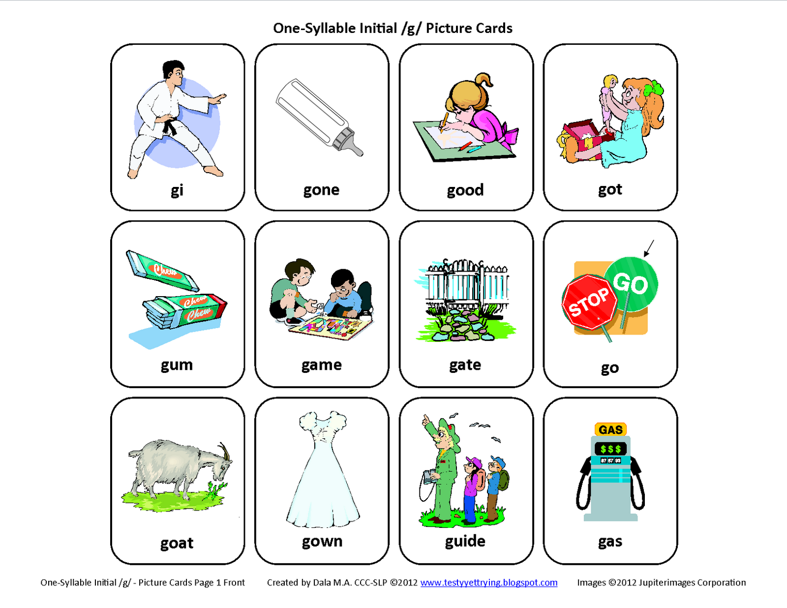 Testy Yet Trying Initial G Free Speech Therapy Articulation Picture Cards