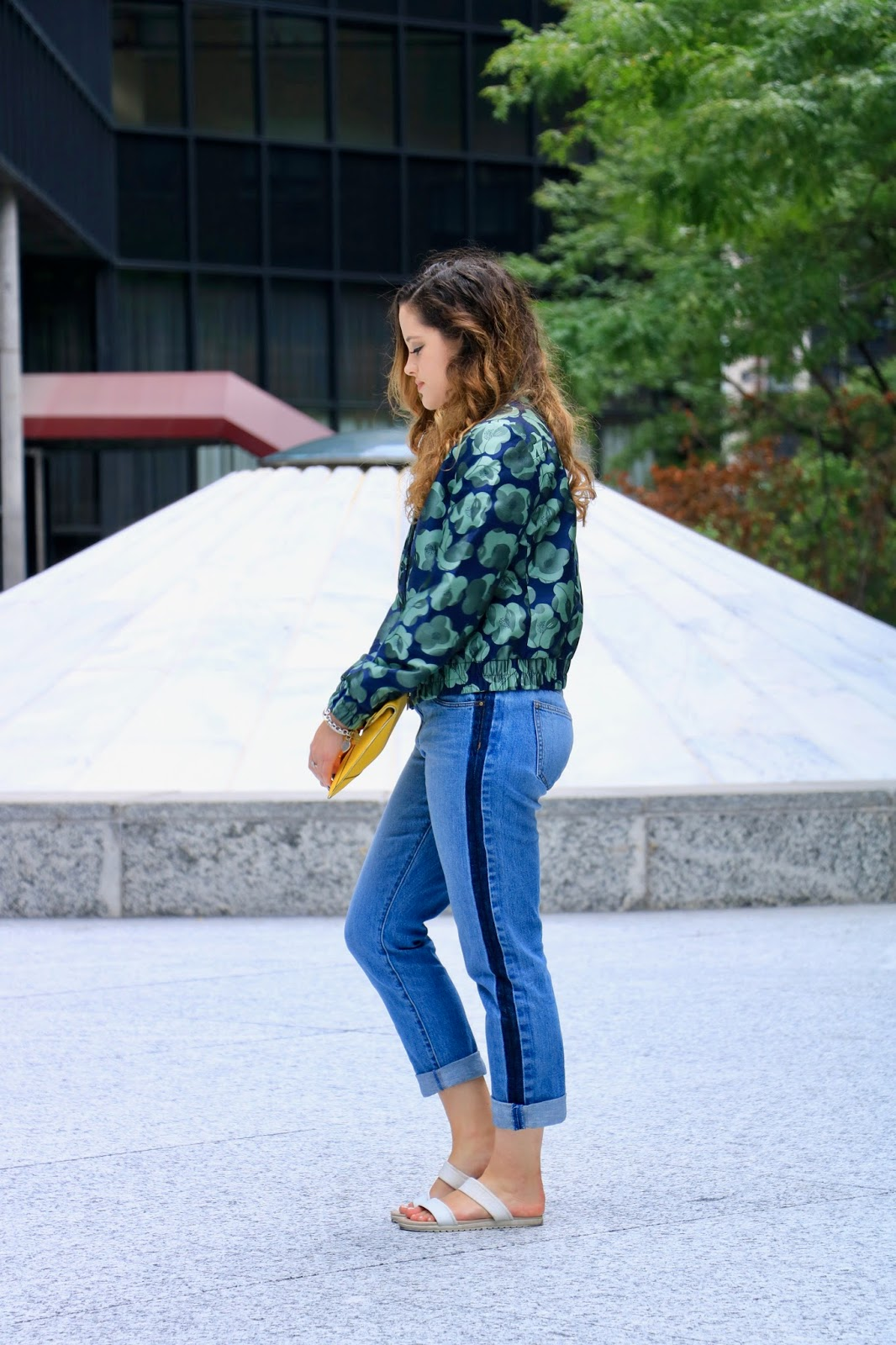 NYC Fashion blogger Kathleen Harper wearing embellished denim jeans