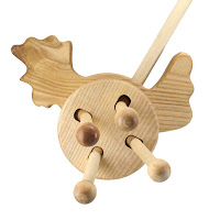 PW07, Push along Bird , Lotes Wooden Toys