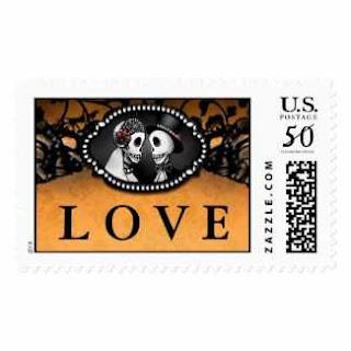 Halloween Skeletons Bride Groom LOVE Wedding Postage Stamp