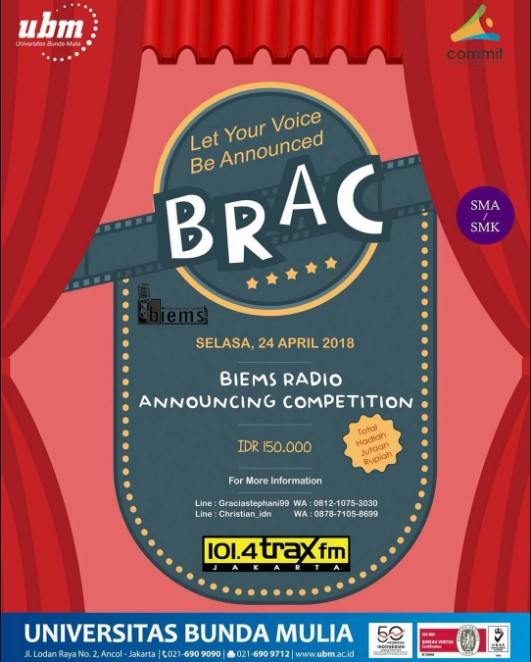 Lomba Biems Radio Announcing Competition 2018 UBM