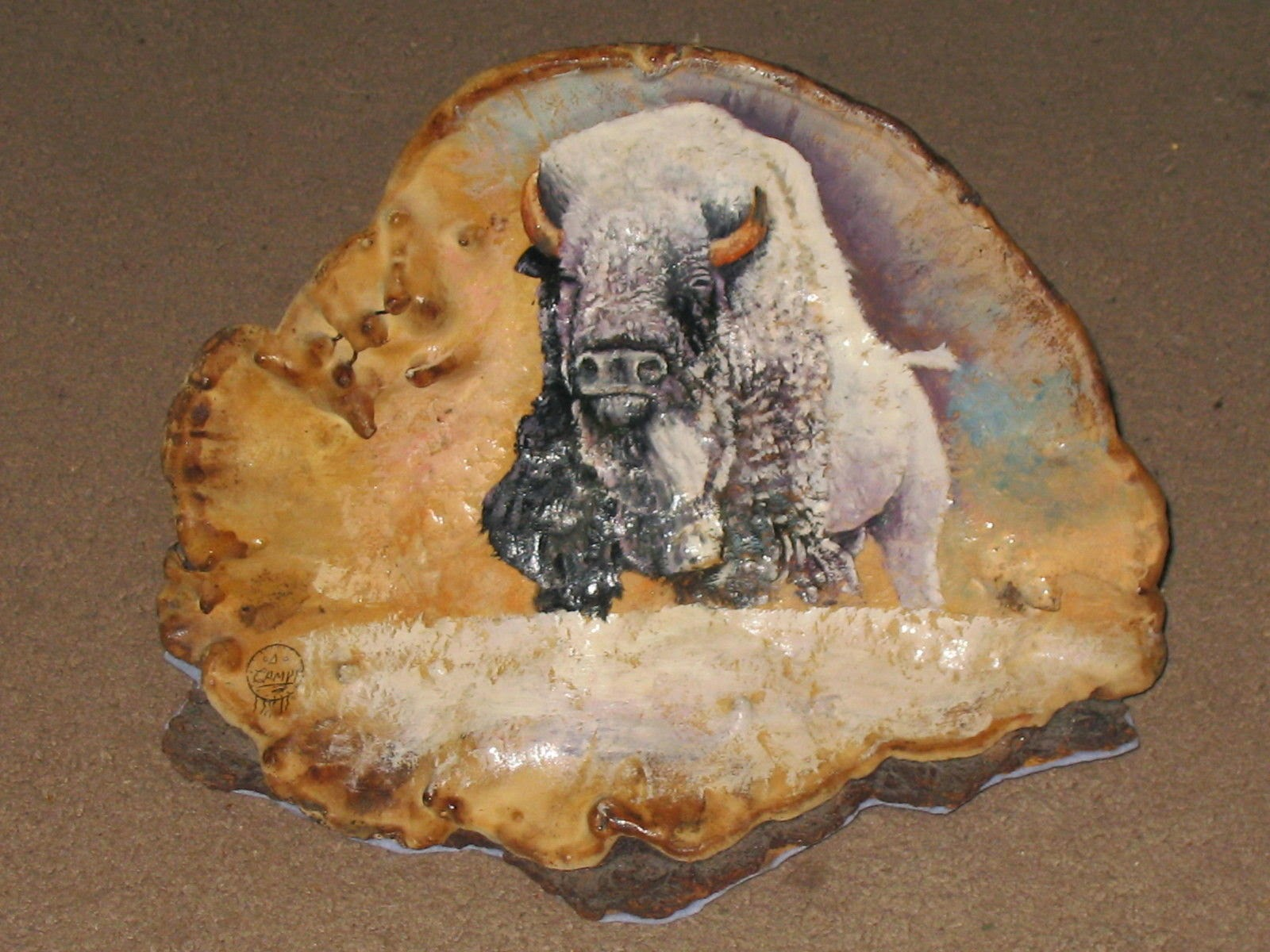 Original Painted On Mother Earth Canvas Lakota Sioux White Buffalo By Campy