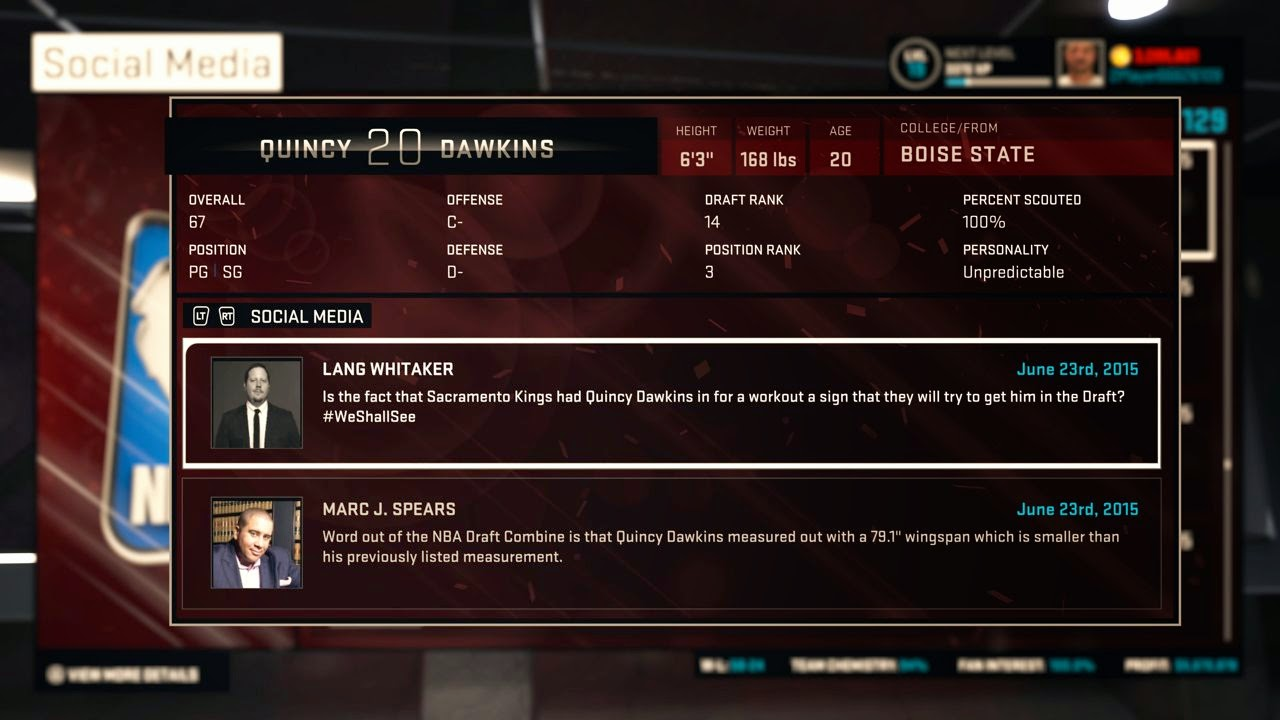 NBA 2K15 MyGM Scouting Prospects