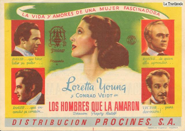 Los Hombres que la Amaron - Programa de Cine - Loretta Young - Conrad Veidt