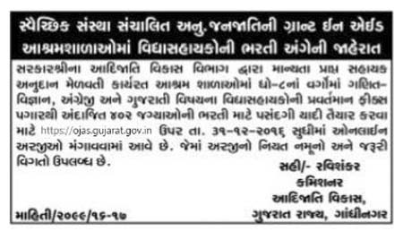 Gujarat Tribal Development Corporation (GSTC) Recruitment 2016 for 402 Vidyasahayak Posts