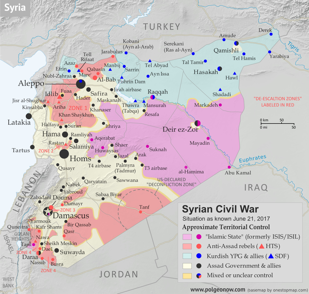 Map of Syrian Civil War (Syria control map): Fighting and territorial control in Syria in June 2017 (Free Syrian Army rebels, Kurdish YPG, Syrian Democratic Forces (SDF), Jabhat Fateh al-Sham / Hayat Tahrir al-Sham (Al-Nusra Front), Islamic State (ISIS/ISIL), and others). Includes Russia-Turkey-Iran agreed de-escalation zones and US deconfliction zone. Includes recent locations of conflict and territorial control changes, such as Raqqah, Maskanah, Arak, Tanf, Sabaa Biyar, Bir Qassab, and more. Colorblind accessible.
