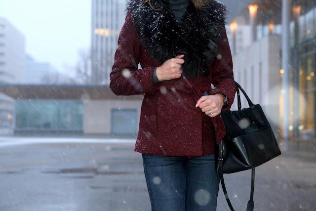 Fur collar coat and Coach soft borough handbag