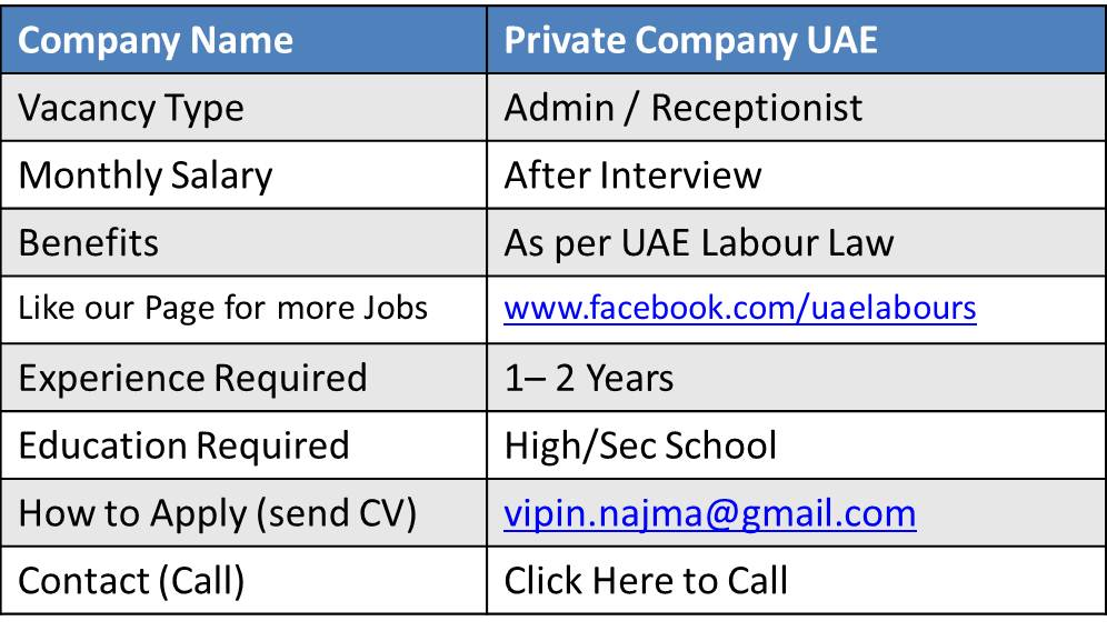admin jobs in dubai