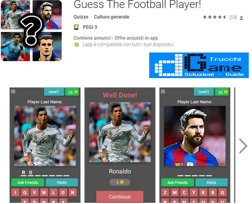 Soluzioni Guess The Football Player | Tutti i livelli risolti con screenshot soluzione