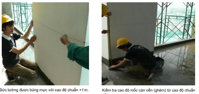 Khôi phục lại cao độ chuẩn +1m trên tường đã tô trát
