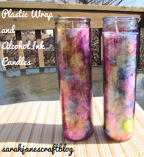 Sarah Jane S Craft Blog Plastic Wrap And Alcohol Ink Candles