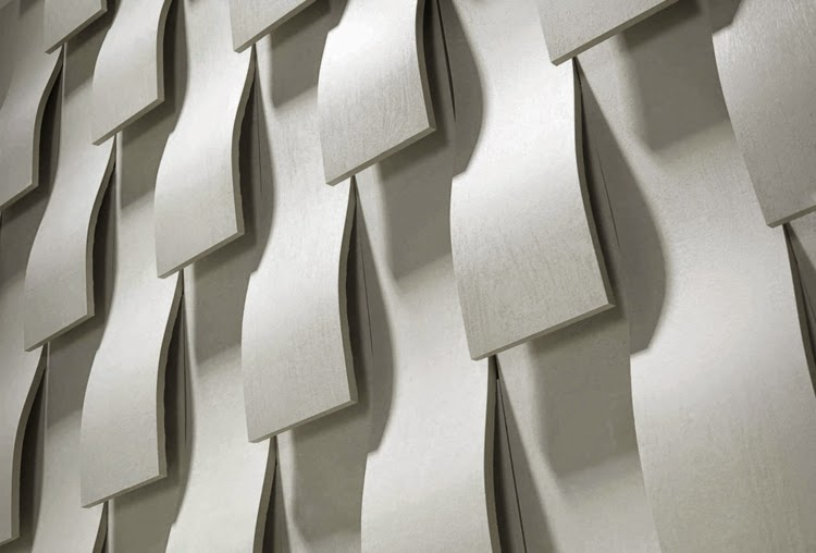 Decorative 3D wall panels: 3D wall panel with floating ornaments in light gray