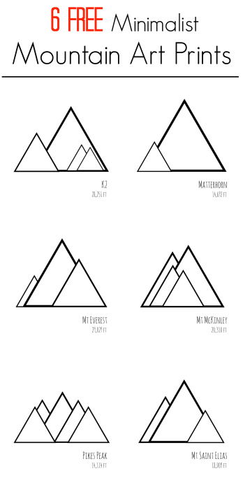 free printable modern minimalist images mountain decor